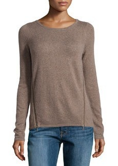 Design History Cashmere-Blend Zip-Detailed Sweater, Goosedown Heather
