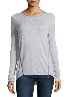 Design History Cashmere-Blend Zip-Detailed Sweater, Moonbeam Heather Gray