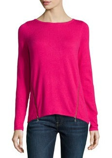 Design History Cashmere-Blend Zip-Detailed Sweater, Pink Passion