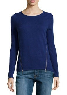 Design History Cashmere-Blend Zip-Detailed Sweater, Ultramarine