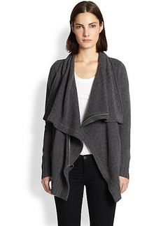 Design History Cashmere Draped Zip-Front Cardigan