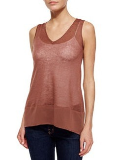 Design History Chiffon-Trim V-Neck Tank, Antique Wood