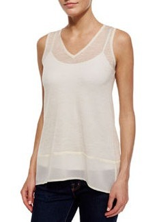 Design History Chiffon-Trim V-Neck Tank, Soft Oat