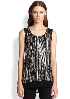 Design History Chiffon-Trimmed Foiled-Print Tank