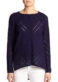 Design History Cotton & Cashmere Sheer-Hem Sweater