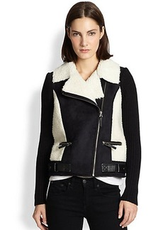 Design History Faux Shearling & Faux Leather Motorcycle Jacket