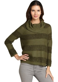 Design History fern green shadow stripe cowlneck sweater