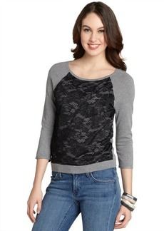 Design History heather grey and black front lace sweater