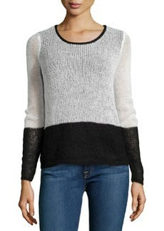 Design History Knit Colorblock Crewneck Sweater, Winter White/Onyx