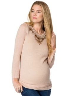 Design History Maternity Beaded Keyhole Sweater