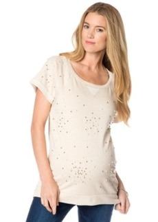 Design History Maternity Short-Sleeve Beaded Sweatshirt