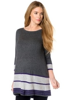 Design History Maternity Striped Peplum Tunic Sweater