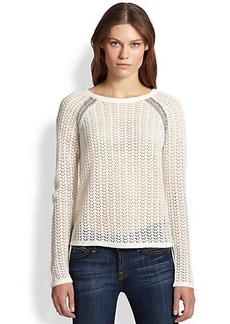 Design History Metallic Weave-Trimmed Open-Knit Sweater