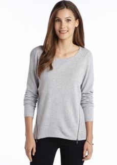 Design History moonbeam heather cashmere open knit back zipper detail sweater