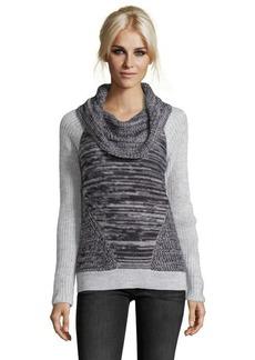 Design History moonbeam heather wool blend marled colorblock sweater