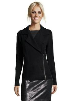 Design History onyx cashmere knit motorcycle jacket cardigan