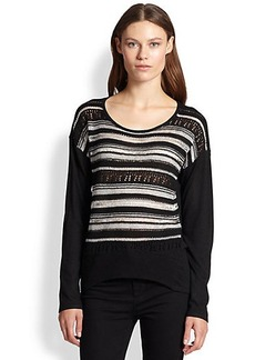 Design History Open-Knit/Lurex-Striped Sweater