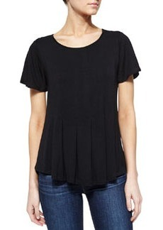 Design History Pleated High-Low Tee, Onyx