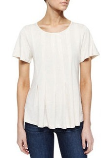 Design History Pleated High-Low Tee, Soft Oat