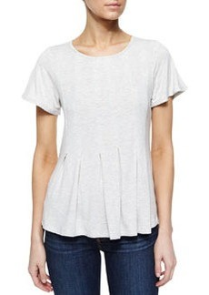 Design History Pleated High-Low Tee, Vapor Gray
