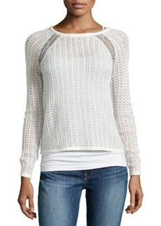 Design History Pointelle Raglan-Sleeve Sweater , White