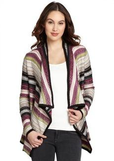 Design History purple printed stripe wool blend open drap cardigan