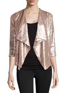 Design History Sequin 3/4-Sleeve Jacket, Nude