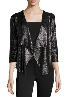 Design History Sequin 3/4-Sleeve Jacket, Onyx