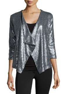 Design History Sequin 3/4-Sleeve Jacket, Steel