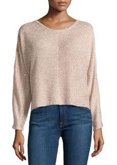 Design History Sequin Cropped Sweater, Blush