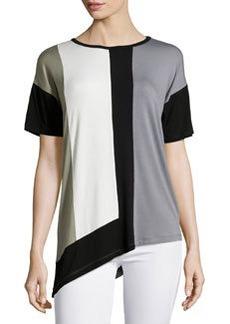 Design History Short-Sleeve Colorblock Jersey Tee, Industrial Gray/Multicolor
