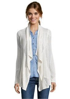 Design History soft oat open knit draped front patchwork cardigan