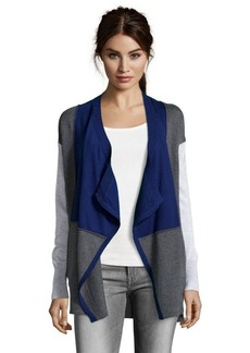 Design History storm grey and blue knit colorblock draped cardigan