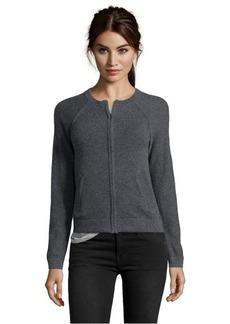 Design History storm grey cashmere zip front crewneck pocket sweater