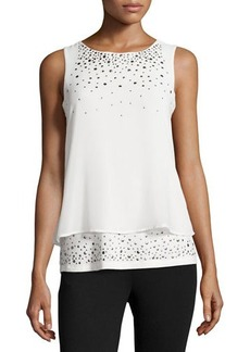Design History Studded Chiffon Illusion Tank