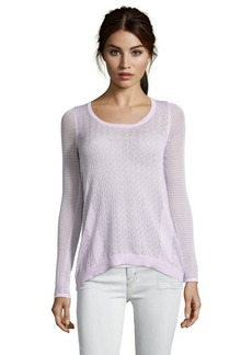 Design History summer violet pointelle knit button back sweater