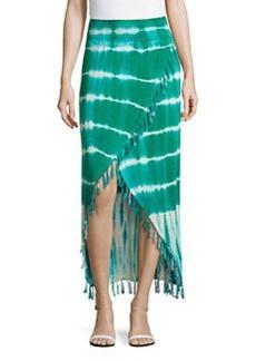 Design History Tie-Dye Wrap Skirt, Green/White