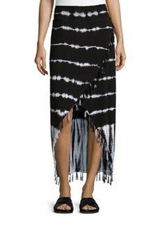 Design History Tie-Dye Wrap Skirt, Onyx/White