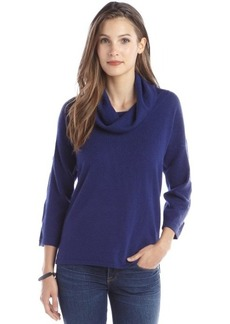 Design History ultramarine cashmere knit lattice detail cowl neck sweater