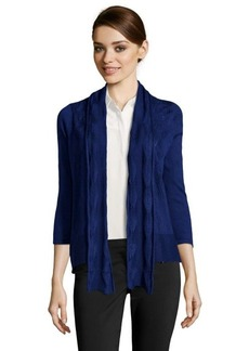 Design History ultramarine knit open front scarf detail cardigan