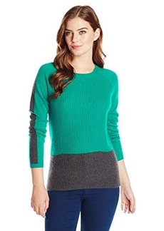 Design History Women's 100% Cashmere Fisherman Stitch Color-Block Sweater