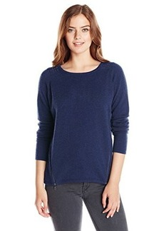 Design History Women's 100% Cashmere Zippered Pullover Sweater