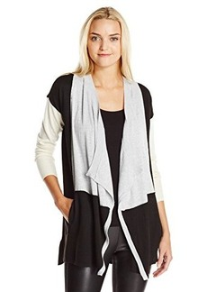 Design History Women's Colorblock Open Cardigan Sweater