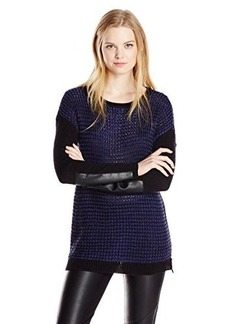 Design History Women's Faux Leather Patch Jacquard Pullover Sweater