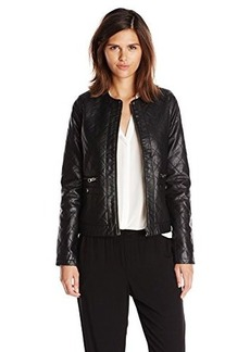 Design History Women's Quilted Faux Leather Jacket