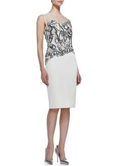 Lela Rose Sleeveless Beaded Sheath Dress, White/Multi