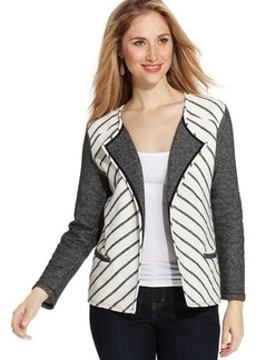 Style&co. Petite Striped French-Terry Jacket