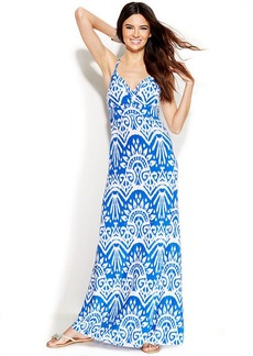 INC International Concepts Petite Printed Empire-Waist Maxi Dress
