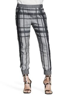 Brunello Cucinelli Silk Tartan Cuffed Pants