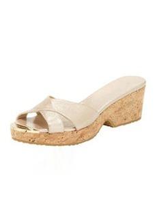 Panna Metallic Crisscross Slide Sandal, Champange   Panna Metallic Crisscross Slide Sandal, Champange